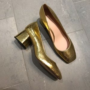 J Crew golden block heels